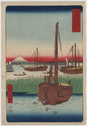 "Off Tsukuda Island in the Eastern Capital (From the series ""Thirty-Six Views of Mount Fuji"")"