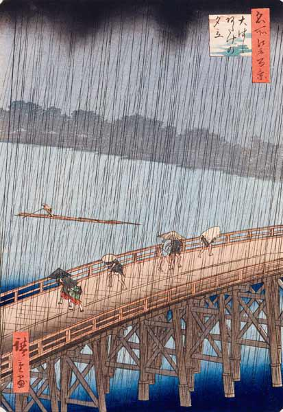 Sudden Shower on Ohashi Bridge at Ataka, from the series ''100 Views of Edo'', 1857 (see also 66101)