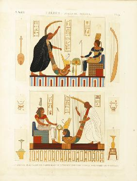 "Paintings of two harpers in the tomb of Pharaoh Ramesses III in the Valley of the Kings. From ""The D"