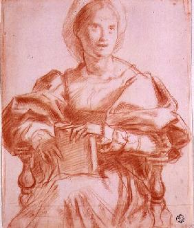 Study of a seated woman holding a book (chalk on paper)