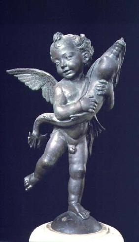 Putto with a dolphin, sculpture