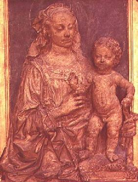 Madonna and Child wooden bas-relief by Andrea del Verrocchio (1435-88)