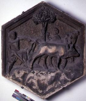 The Art of Agriculture, hexagonal decorative relief tile from a series depicting the practitioners o