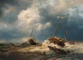 Ships in a Storm on the Dutch Coast