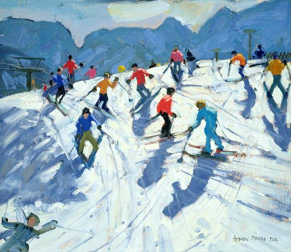 Busy Ski Slope, Lofer, 2004 (oil on canvas)