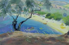 Achladies Bay, Skiathos, Greece, 1985 (oil on canvas)