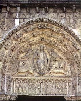 Christ in Majesty with the Evangelist Symbols and Apostles, tympanum, central door of the Royal Port
