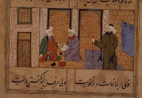 Folio 190, Two persons conversing, from 'the Bustan of Sa'di', inscription reads 'The work of Haji M