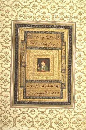 Jahangir holding a picture of the Madonna, inscribed in Persian: Jahangir Shah,Moghul