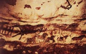 Anonymous  - Rock painting of a leaping cow and a frieze of small horses