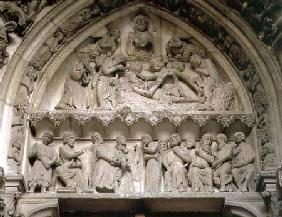 Tympanum depicting (top) an exorcism and (below) the Presentation in the Temple
