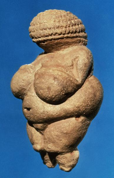 The Venus of Willendorf, side view of female figurine, Gravettian culture,Upper Palaeolithic Period