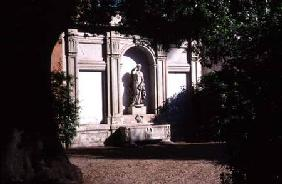 View of the gardendetail of fountain with a statue of Venus and Roman sarcophagus