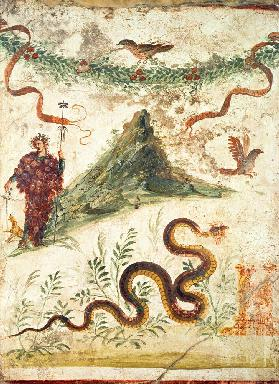 Bacchus Standing Before Vesuvius, from the House of the Centenary, Pompeii,Fourth Style