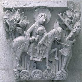 Flight into Egypt, original capital from the cathedral nave