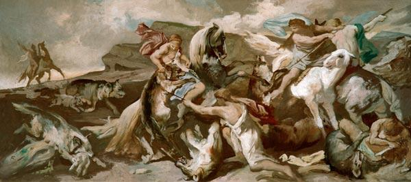Amazons hunting wolves