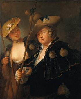 Gustav Adolf Graf von Gotter and his Niece Friederike von Wangenheum in Pilgrim Costumes, c.1750