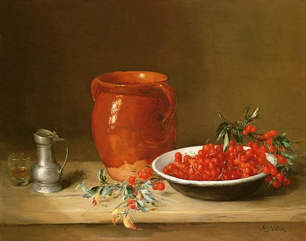 Still life of cherries in a bowl