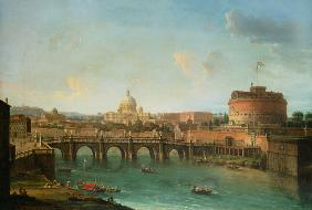 View of Rome with the Tiber, the angel castle and