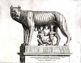 Drawing of the Etruscan bronze of the she-wolf suckling Romulus and Remus, 5th century BC, in the Ca