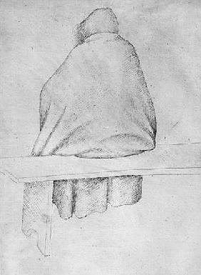 Monk seated on a bench, seen from behind, from the The Vallardi Album