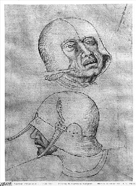 Two heads of soldiers wearing helmets, from the The Vallardi Album