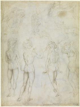 Four Studies of a Female Nude, an Annunciation and Two Studies of a Woman Swimming