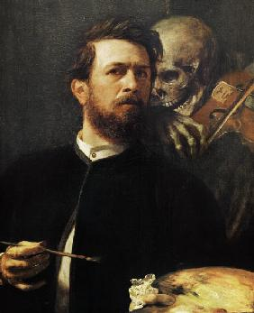 B�cklin, Arnold : Self-portrait with a fiede...
