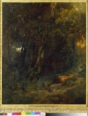 Woodland landscape with resting Pan