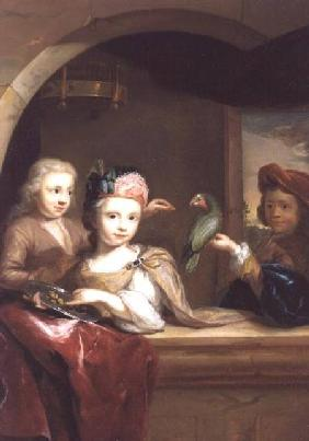 Three Children with a Parrot