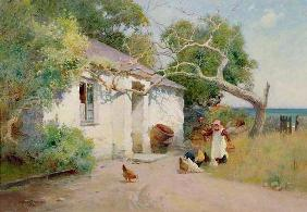 Feeding the Hens, 1894 (oil)