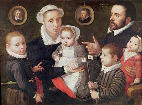 Portrait of a family: parents with their children and ancestors