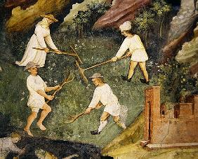 Haymaking in the month of June, detail