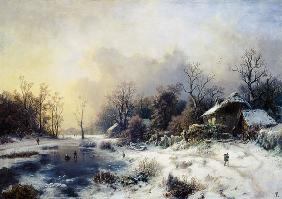 August Piepenhagen - Winter landscape with a pond having been cold.