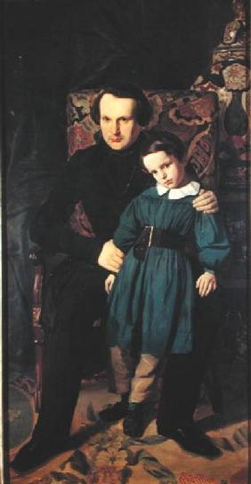 Victor Hugo (1802-85) and his Son, Francois-Victor