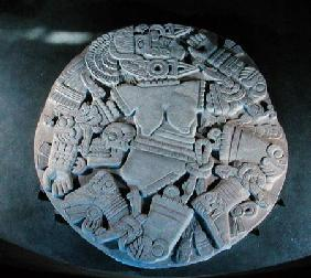 Carving of the dismemberment of the moon goddess Coyolxauhqui, found at the foot of the twin pyramid
