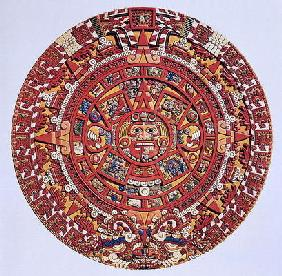 Imaginary recreation of an Aztec Sun Stone calendar (see also 115255), Late Post Classic Period (lit