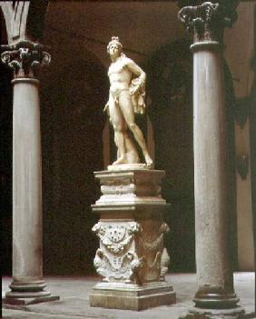 Bacchus on a base designed by Benedetto da Rovezzano (1474-1552) within the inner courtyard designed