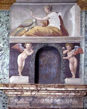 The 'Sala delle Prospettive' (Hall of Perspective) detail of trompe l'oeil niche depicting the godde