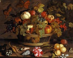 Quiet life with grapes, apples, peach, plums and f