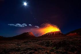 Lava flow with the moon