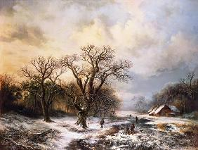 Winter landscape with ice-skaters and brushwood co