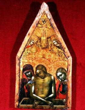 Pieta (tempera on panel with applied textile)