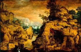 Mountains landscape with hermit