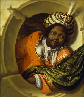 Portrait of a Moor holding a flag at a window