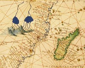 Madagascar, from an Atlas of the World in 33 Maps, Venice, 1st September 1553(detail from 330955)