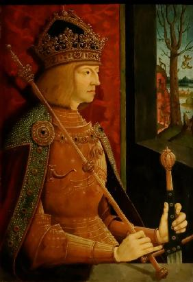 Emperor Maximilian I (1459-1519), with crown, sceptre, and sword