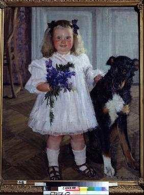 Portrait of the daughter Irina with the dog Shumka
