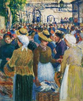 Pissarro, Camille : The poultry market in Giso...