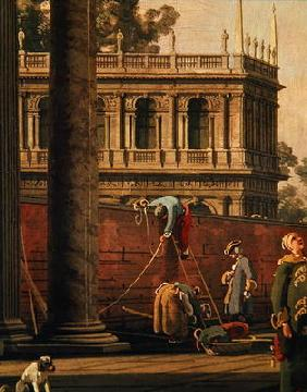 Capriccio of a man scaling a wall (oil on canvas)